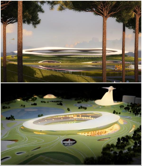 Под таким парящим козырьком спрячут часть трибун от солнца и дождя (визуализация «Quzhou Sports Park»). | Фото: worldarchitecture.org/ © MAD Architects.
