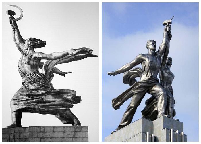 Благодаря развевающейся одежде создается  оптический эффект непрерывности движения (Монумент «Рабочий и колхозница»).