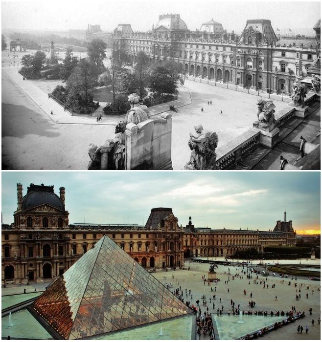Музей Лувра в Париже в 1910 г. и современный вид (Франция). | Фото: oeildelaphotographie.com, © Les Freres Seeberger/ posmotrim.by.