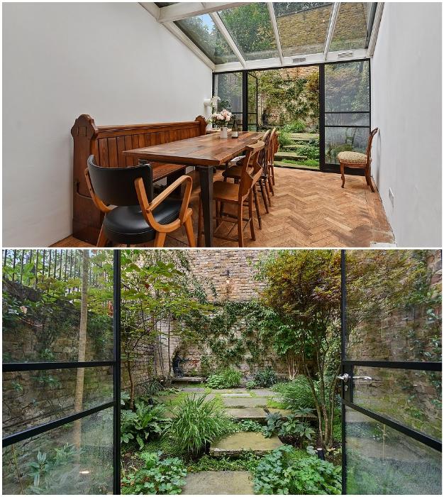 Из столовой есть выход во внутренний дворик и сад («The thinnest house», Лондон).   Фото: boredpanda.com/ mylondon.news.