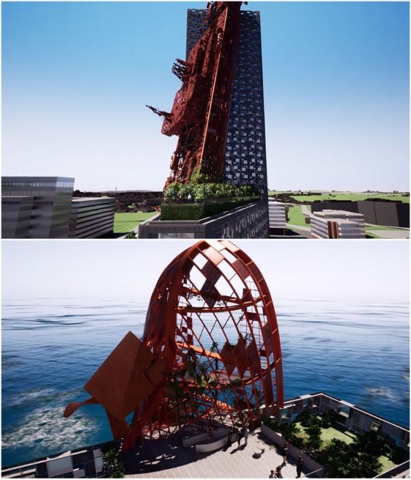 В Праге возможно появится 135 метровый небоскреб, в который «врезался корабль» (визуализация Top Tower, Чехия). | Фото: designmag.cz.