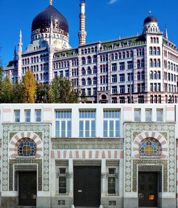 Большое количество окон и оригинальный фасад – отличительная черта табачной фабрики Yenidze (Дрезден, Германия). | Фото: lgroutes.com.