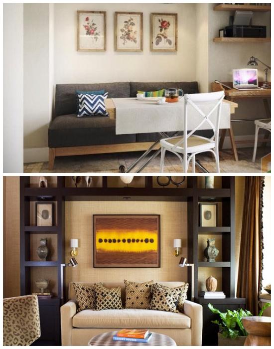В неглубокой нише однокомнатной квартиры лучше установить диван.