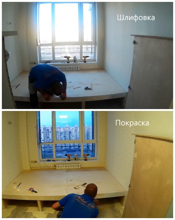 Готовую конструкцию отшлифовать и покрасить. | Фото: youtube.com.