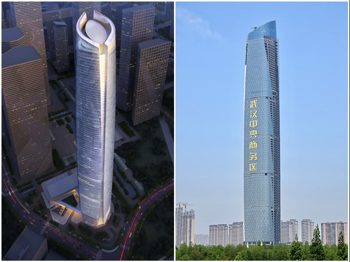 Небоскреб Center Tower в Ухане поднялся в высоту на 438 м (Китай). | Фото: interestingengineering.com/ heightpedia.com.