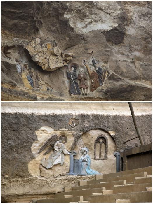 Лики святых украшают стены и своды подземных монастыря и церквей (комплекс Мукаттама, Египет). | Фото: hram-sokol.livejournal.com.