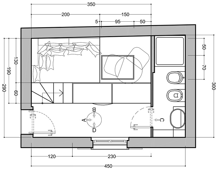 Схема плана второго уровня квартиры.
