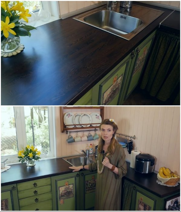 Для свободного доступа к сточным конструкциям и коммуникациям столешницу закрепили на стене, а не положили на тумбы. | Фото: youtube.com/ © Новая Кухня Натали Нуво.