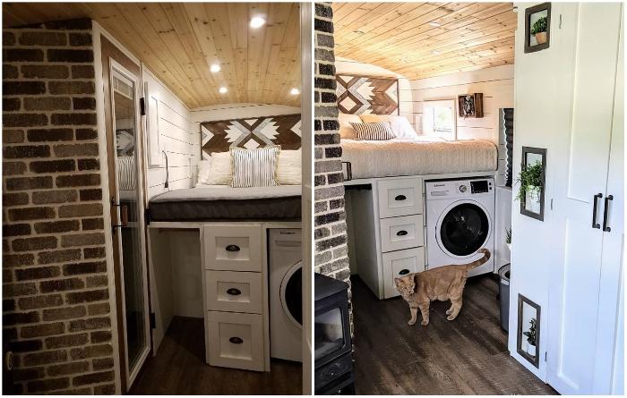 Спальная зона совмещена с бытовым блоком, где установлена машинка и встроена мини-гардеробная. | Фото: instagram.com/ © going_boundless.