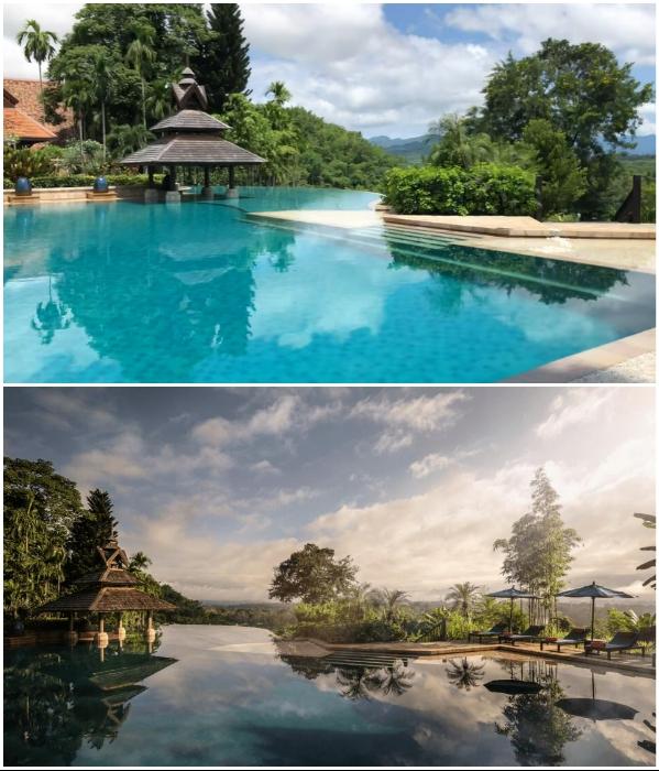 К услугам гостей курортного комплекса создан потрясающий бассейн («Anantara Golden Triangle Elephant Camp & Resort», Таиланд). | Фото: booking.com/ youtube.com, © Luxuori.