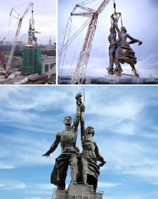 Монумент «Рабочий и колхозница» установили на 34 метровый постамент, как и было задумано Верой Мухиной (Москва ).