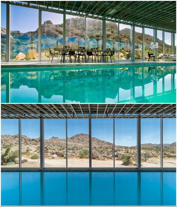 Голубой бассейн 30 м в длину стал прекрасным местом отдыха с видом на пустынный ландшафт («Invisible House», Joshua Tree). | Фото: referredbyruby.com/ newatlas.com.
