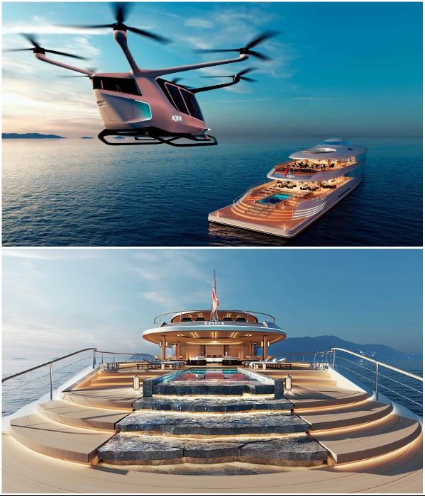 На суперяхте есть своя вертолетная площадка и бассейн с водопадом (концепт «AQUA»). | Фото: interestingengineering.com/ © Sinot Yacht.
