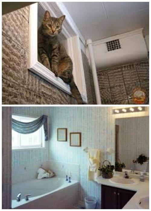 Задекорировать окно в ванной можно любым способом.