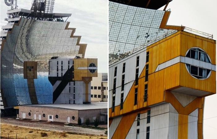 Поток солнечных лучей отражается от зеркальной поверхности параболического концентратора и фокусируется в круговую мишень диаметром 40 см. (Гелиокомплекс «Солнце», Узбекистан). | Фото: pinterest.es.