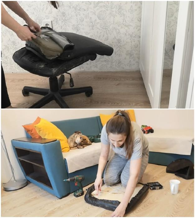 Кресло нужно полностью разобрать.