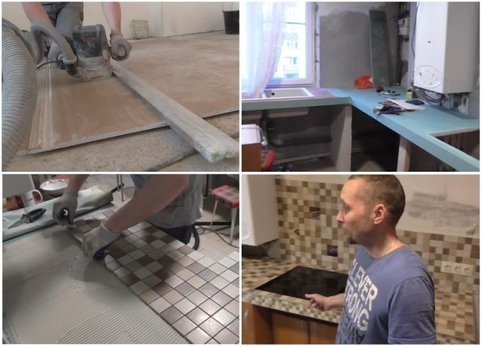 Этапы создания столешницы из гипсокартона и оформления рабочей зоны кухни. | Фото: youtube.com.