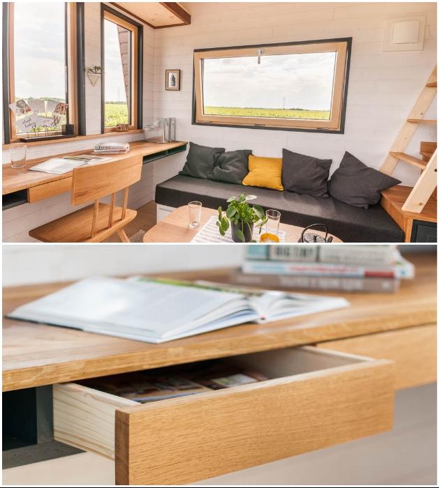 Домашний офис в гостиной крошечного дома «Intrepide» (Франция). | Фото: slide.fashion.sina.com.cn/ © Vincent Bouhours.