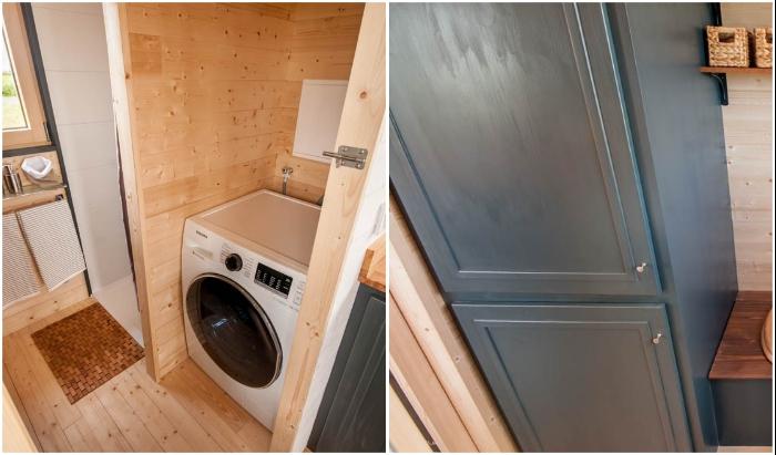 Зону кухни от ванной комнаты отделили с помощью стиральной машины и вместительного шкафа («Intrepide», Франция). | Фото: cpykami.ru / © Vincent Bouhours.
