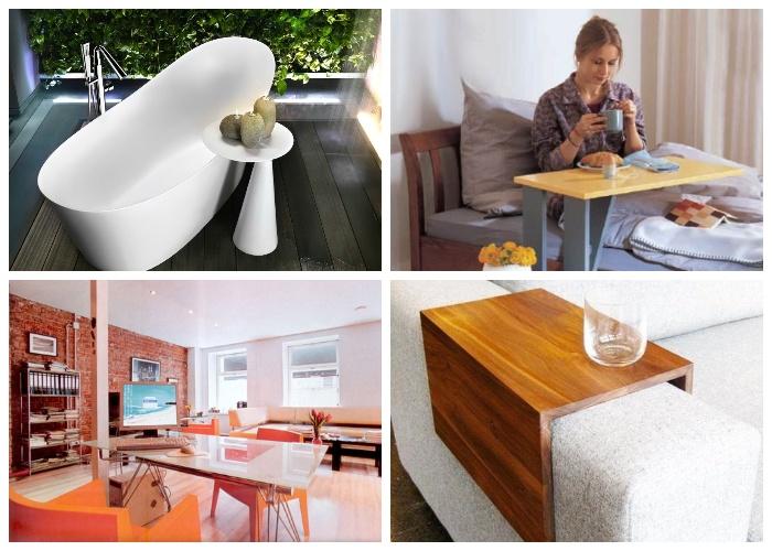 Легкость конструкции позволяет установить приставной столик в любом месте.