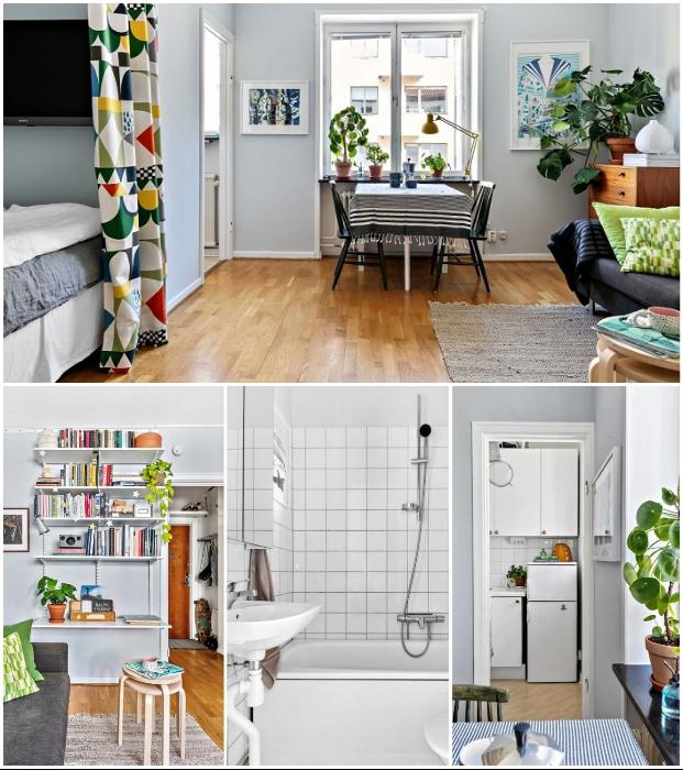 Грамотное оформление малогабаритной квартиры позволило сделать ее уютной и комфортной. | Фото: hitta.se/ vk.com, © kvartirastudia_ru.