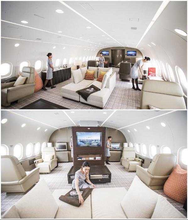 Общая лаунж-зона на борту роскошного самолета VVIP Boeing787 Dream Jet.   Фото: bigpicture.ru.