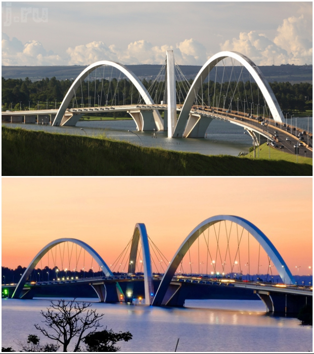 Благодаря диагональному расположению бетонных арок, мост выглядит фантастически (Juscelino Kubitschek, Бразилия).