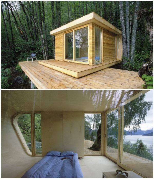Площадь «Любовной лачуги» составляет 20 кв. метров, плюс терраса, на которой будет приятно отдыхать на лоне природы (Норвегия). | Фото: interiorsib.ru.