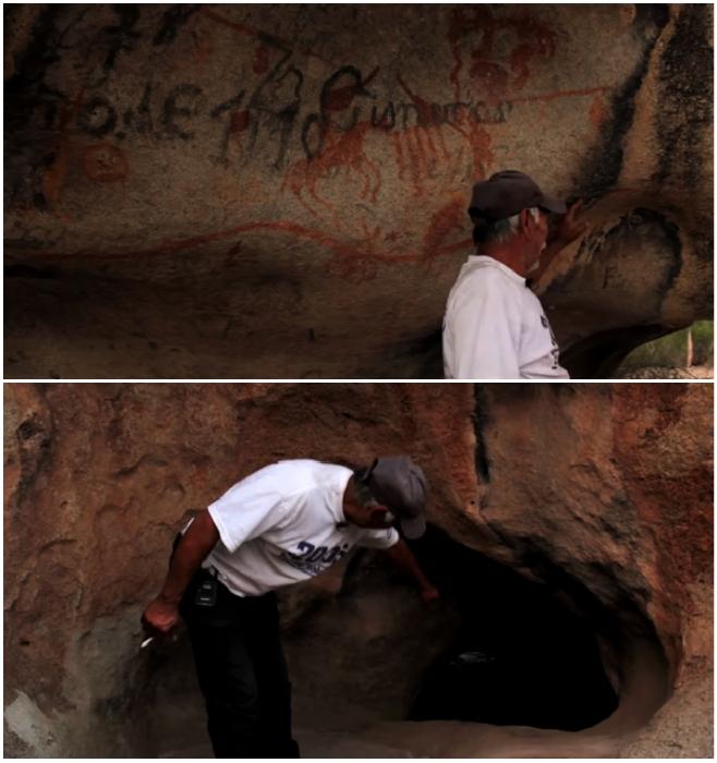 Предприимчивый Бенито водит туристов на экскурсии в древние пещеры, где сохранились наскальные рисунки (штат Коауил, Мексика). © VANGUARDIA MX.