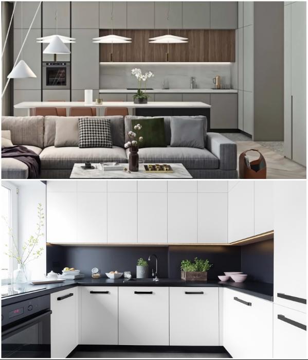 Кухонный гарнитур до потолка в тон стенам и контрастной рабочей зоной, помогут визуально «растворить» громоздкие шкафы. | Фото: superdom.ua/ youtube.com, GEOMETRIUM.