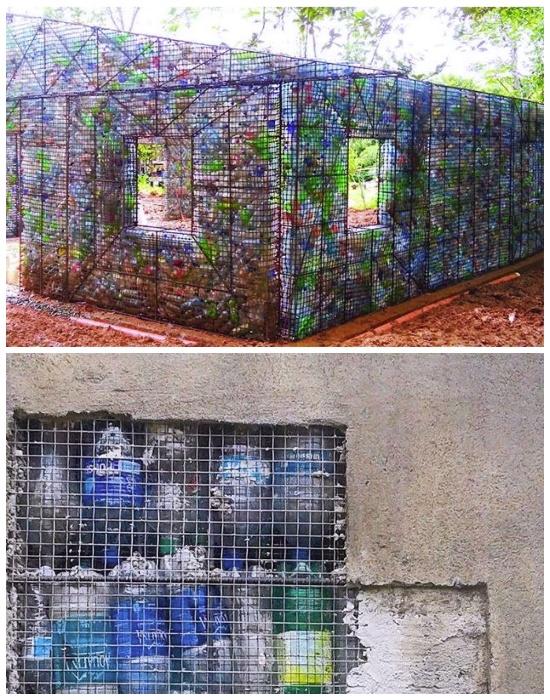 Для придания привычного вида стенам их просто оштукатуривают (Plastic Bottle Village, Панама). | Фото: youtube.com.