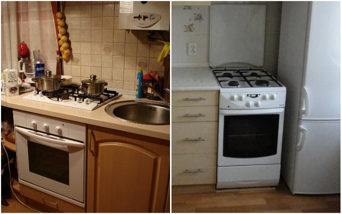 Нельзя размещать плиту/варочную поверхность рядом с холодильником или мойкой.