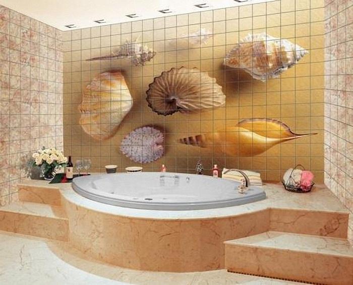 Панно из керамической плитки станет украшением ванной.