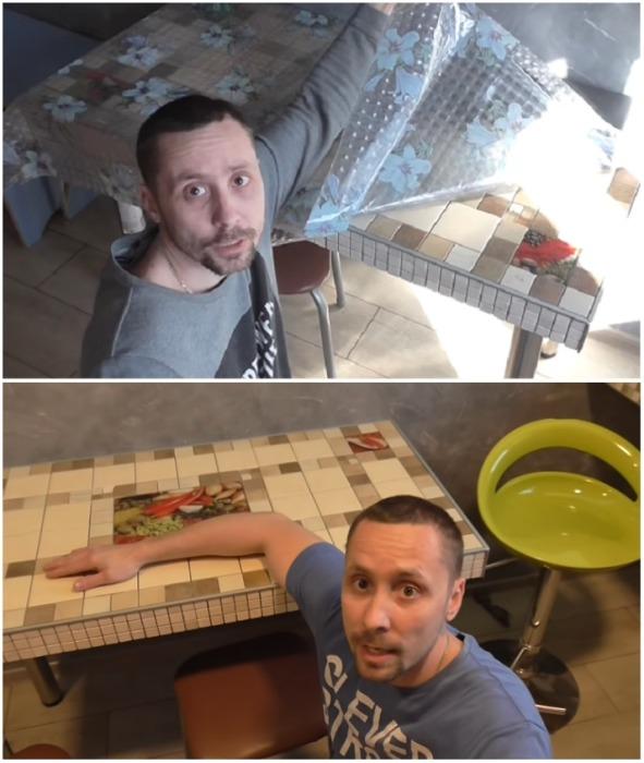 Столешницу для обеденного стола Евгений изготовил из гипсокартона. | Фото: youtube.com.