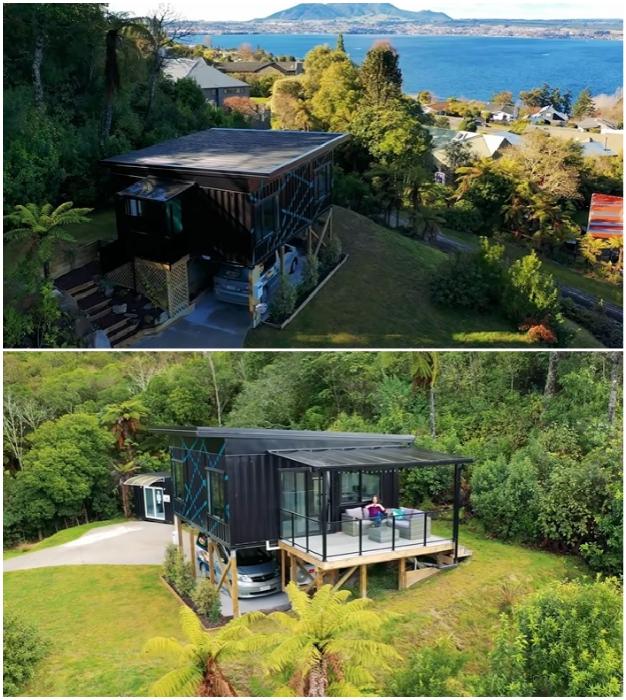 Дом расположен на живописном склоне возле озера Таупо в Новой Зеландии. © IQ Container Homes.
