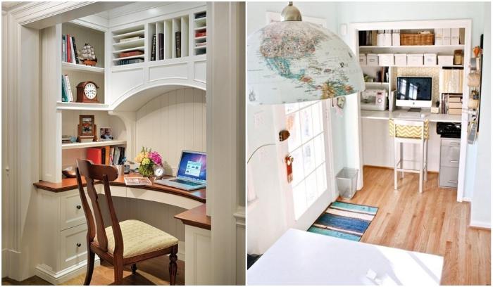 Любая ниша может превратиться в домашний офис. | Фото: archidea.com.ua/ pinme.ru.