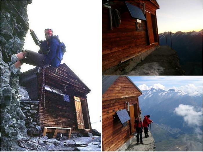 Головокружительное уединение в хижине Solvay hut на высоте 4003 м. над уровнем моря (Швейцария). | Фото: summitpost.org.