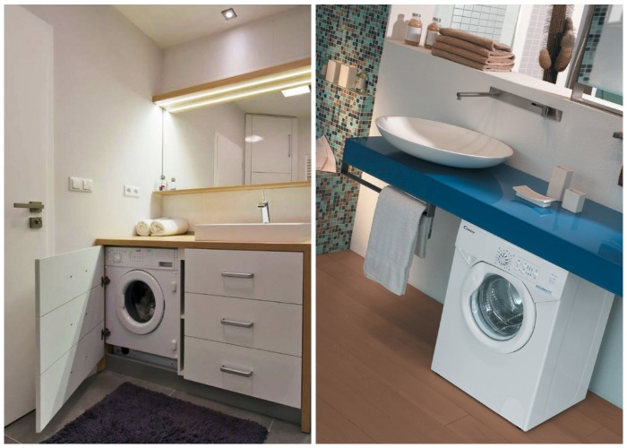 Оригинальные варианты размещения стиральной машинки и рукомойника в маленькой ванной.