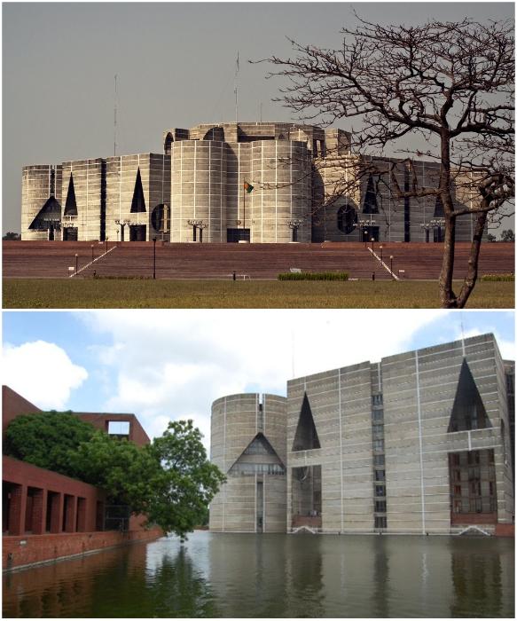 Война за независимость вдохновила Кана на создание столь неординарного сооружения (Национальная Ассамблея в Дакке). | Фото: scaruffi.com/ architectureau.com.