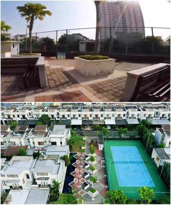 На территории деревни есть свой теннисный корт и облагороженные зоны отдыха (Cosmo Park, Джакарта). | Фото: amusingplanet.com.