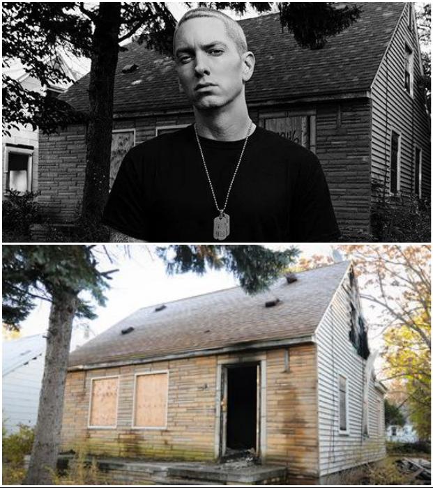 Белокожий репер Eminem сумел не только выбраться из этой лачуги, но и прославиться.