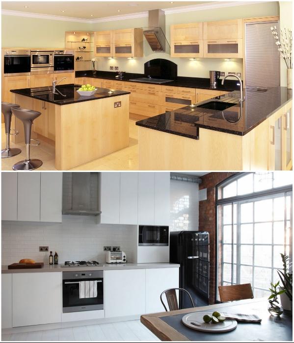 Даже кухню больших размеров можно сделать переполненной мебелью, если ошибиться с цветом. | Фото: mydizajn.ru.