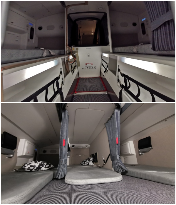 В самолете Airbus A350 обустроена двухъярусная комната для отдыха стюардесс. | Фото: frequentflyers.ru.