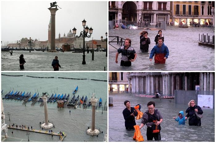 Катастрофические последствия наводнения в Венеции.