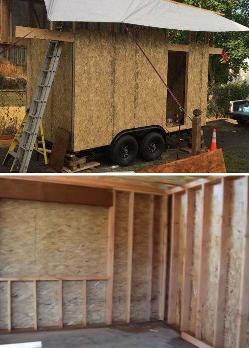Внутреннюю и наружную обшивку в крошечном доме женщина сделала из OSB панелей («My Empty Nest»).   Фото: youtube.com.