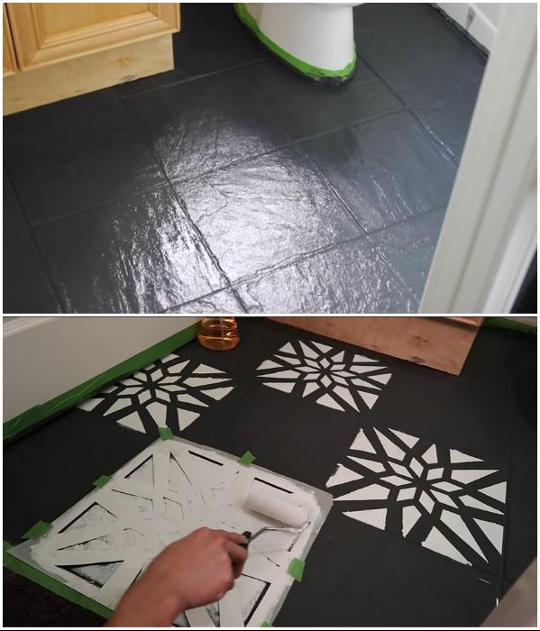 Преобразовать унылую напольную плитку можно с помощью краски и нанесения рисунка. | Фото: youtube.com/ © Living to DIY with Rachel Metz.