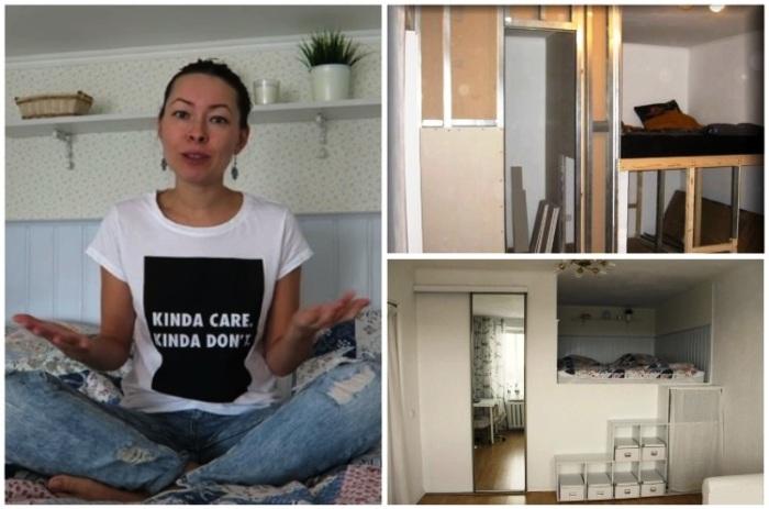 Чтобы не загромождать «однушку» большими шкафами и кроватью, Анна решила создать многофункциональную зону. | Фото: youtube.com/ Anna_Studio.