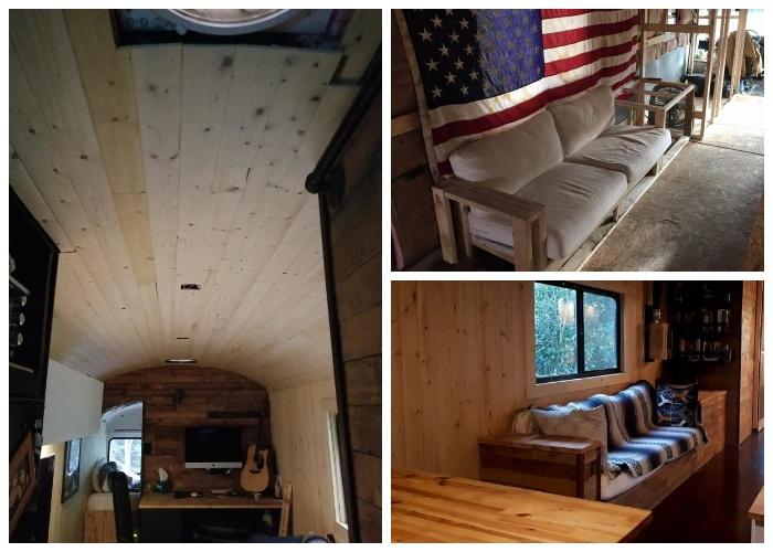 Стены, потолок, пол и мебель были сделаны из натурального дерева.