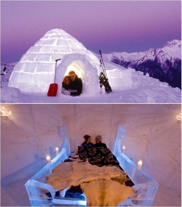 Для молодоженов есть двухместные номера с ледяной царской кроватью (Иглу-отель «Горная территория», Камчатка). | Фото: mir-vpechatleniy.ru.