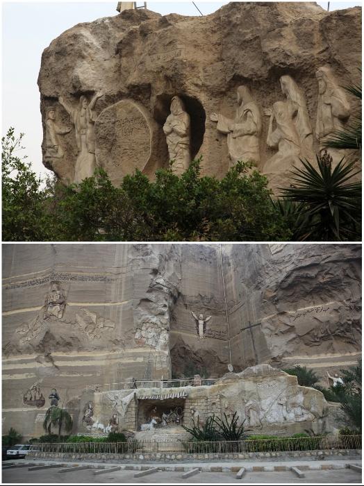 Статуи и барельефы, вырубленные из горной породы, украшают комплекс Мукаттама (Каир, Египет). | Фото: v-hrame.livejournal.com.